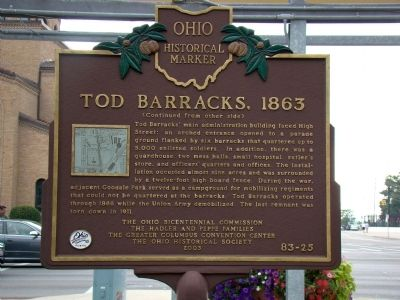 Tod Barracks, 1863 Marker, Side Two image. Click for full size.