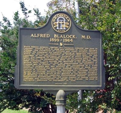 Alfred Blalock, M.D. Marker Photo, Click for full size
