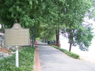 DeSoto In Georgia Marker, along the River Walk looking west image. Click for full size.