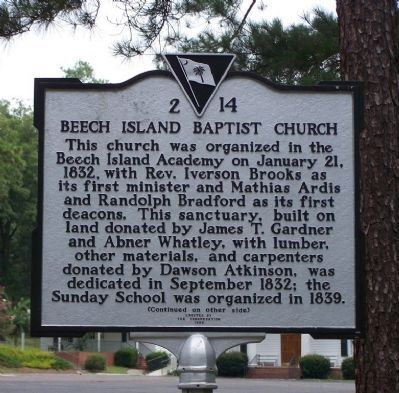 Beech Island Baptist Church Marker image. Click for full size.