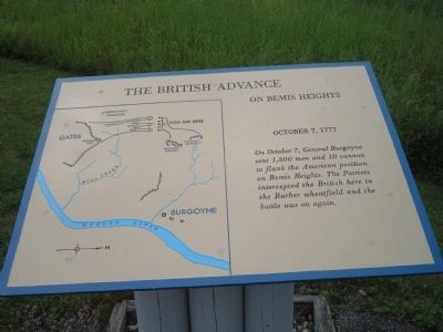 The British Advance on Bemis Heights Marker image. Click for full size.