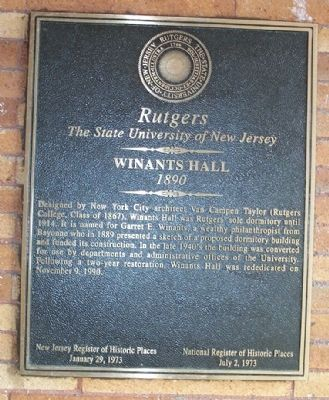 Winants Hall Marker image. Click for full size.