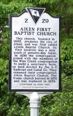 Aiken First Baptist Church Marker </b>(front) image. Click for full size.