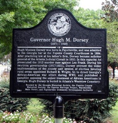 Governor Hugh M. Dorsey Marker image. Click for full size.