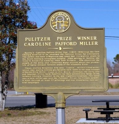 Pulitzer Prize Winner Caroline Pafford Miller Marker Photo, Click for full size