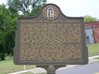 Birthplace of Augusta Chronicle Marker image. Click for full size.