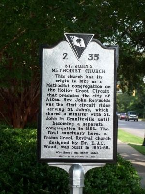 St. Johns Methodist Church Marker </b>(front) image. Click for full size.