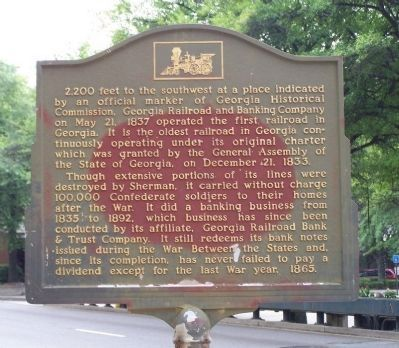 Untitled (Georgia Railroad and Banking Company) Marker image. Click for full size.