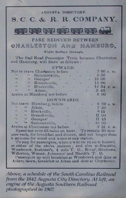 Above, a schedule of the South Carolina Railroad, shown on marker image. Click for full size.