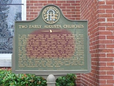 Two Early Augusta Churches Marker image. Click for full size.