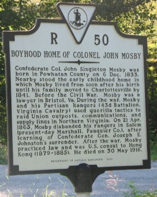 Boyhood Home of Colonel John Mosby Marker image. Click for full size.