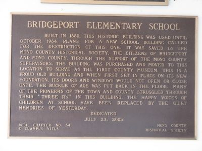 Bridgeport Elementary School Marker image. Click for full size.