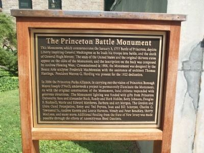 Princeton Battle Monument Marker image. Click for full size.