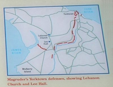 Yorktown Defense Map from Marker Photo, Click for full size