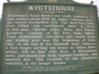 Whitehouse Marker image. Click for full size.