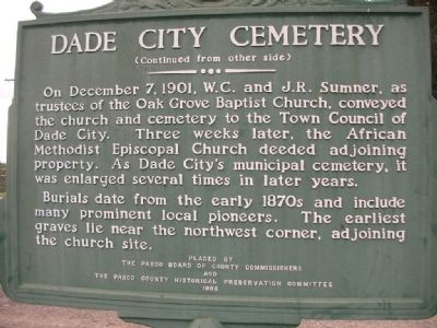 side two, Dade City Cemetery Marker image. Click for full size.