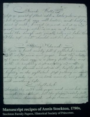 Manuscript recipes of Annis Stockton, 1790s, image. Click for full size.