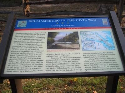 Williamsburg in the Civil War Marker image. Click for full size.