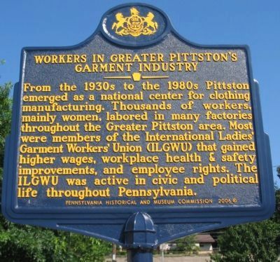 Workers in Greater Pittston's Garment Industry Marker image. Click for full size.