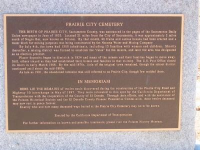 Prairie City Cemetery Marker image. Click for full size.