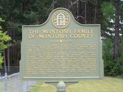 The McIntosh Family Of McIntosh County Marker image. Click for full size.