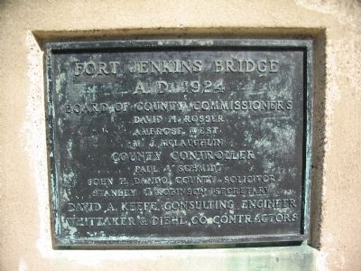 Fort Jenkins Bridge Cornerstone image. Click for full size.