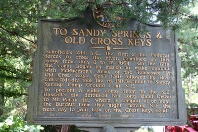 To Sandy Springs and Old Cross Keys Marker image. Click for full size.