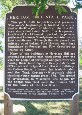 Heritage Hill State Park Marker image. Click for full size.
