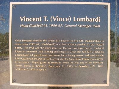 Vincent T. (Vince) Lombardi Marker image. Click for full size.