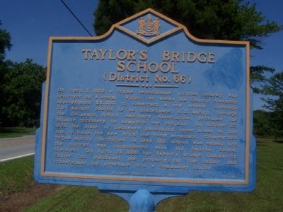 Taylor's Bridge School Marker image. Click for full size.