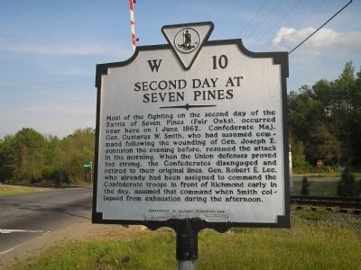 Second Day at Seven Pines Marker image. Click for full size.