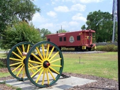 Sherman at Pooler Caboose marks where onetime Railroad line ran thru Pooler image. Click for full size.