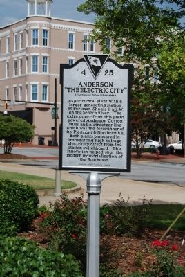 "Anderson: ""The Electric City"" Marker<br>Original Location, Reverse Photo, Click for full size"