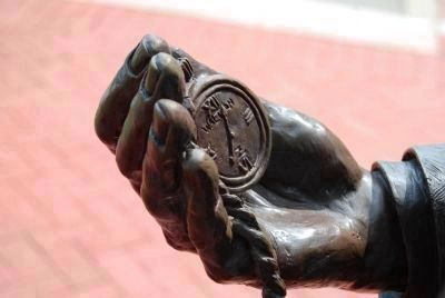 William Church Whitner Statue -<br>Hand and Watch Detail Photo, Click for full size