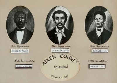 Pictures of the three Black lawmakers instrumental in founding Aiken County image. Click for full size.