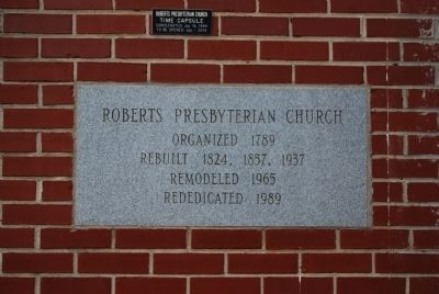 Roberts Presbyterian Church Cornerstone image. Click for full size.