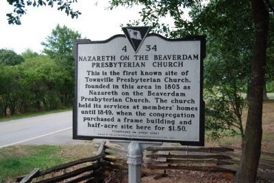 Nazareth on the Beaverdam Presbyterian Church Marker image. Click for full size.