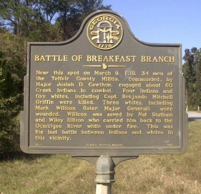 Battle of Breakfast Branch Marker image. Click for full size.