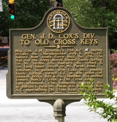 Gen. J. D. Cox's Div. To Old Cross Keys Marker image. Click for full size.
