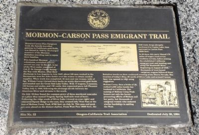 Mormon-Carson Pass Emigrant Trail Marker Photo, Click for full size