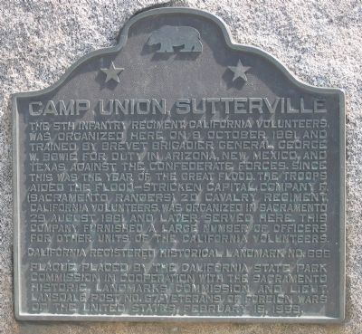 Camp Union Sutterville Marker image. Click for full size.