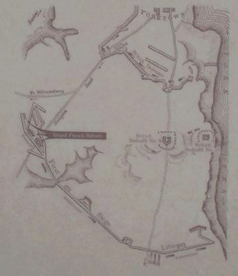 Yorktown Fortifications Map image. Click for full size.