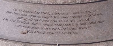 Pan American Airways Flight 103 Memorial Cairn Base Marker image. Click for full size.