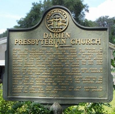 Darien Presbyterian Church Marker image. Click for full size.