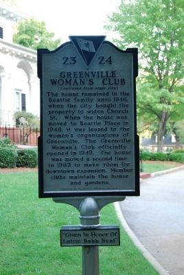 Greenville Women's Club Marker image. Click for full size.