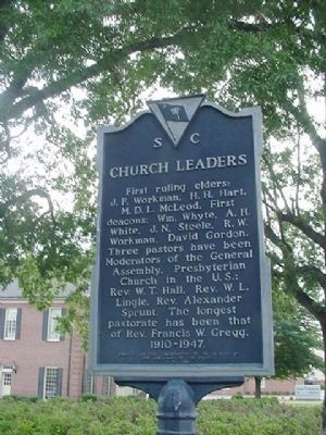 (First Presbyterian) Church Leaders Marker image. Click for full size.