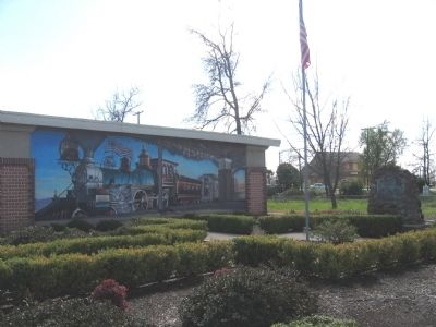 First Transcontinental Railroad Marker and Mural on Side of Building image. Click for full size.