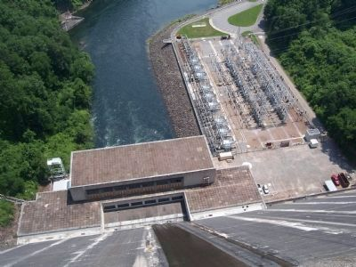 View of the power house and power yard from top of the dam. image. Click for full size.