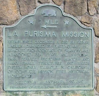 La Purisima Mission - 1 Mile Marker image. Click for full size.