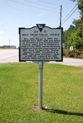 Rock Presbyterian Church Marker - Reverse image. Click for full size.